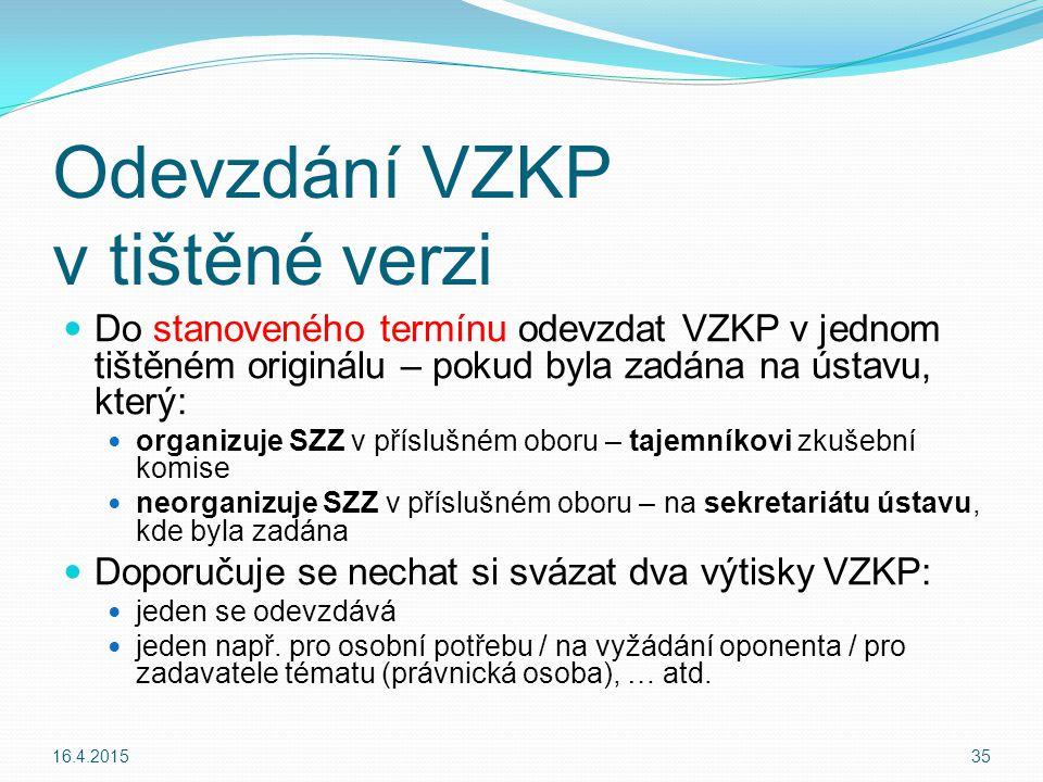 Odevzdání VZKP v tištěné verzi