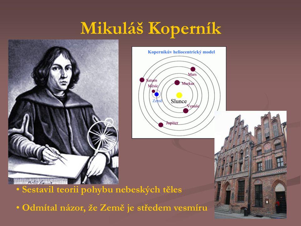 Mikuláš Koperník Sestavil teorii pohybu nebeských těles