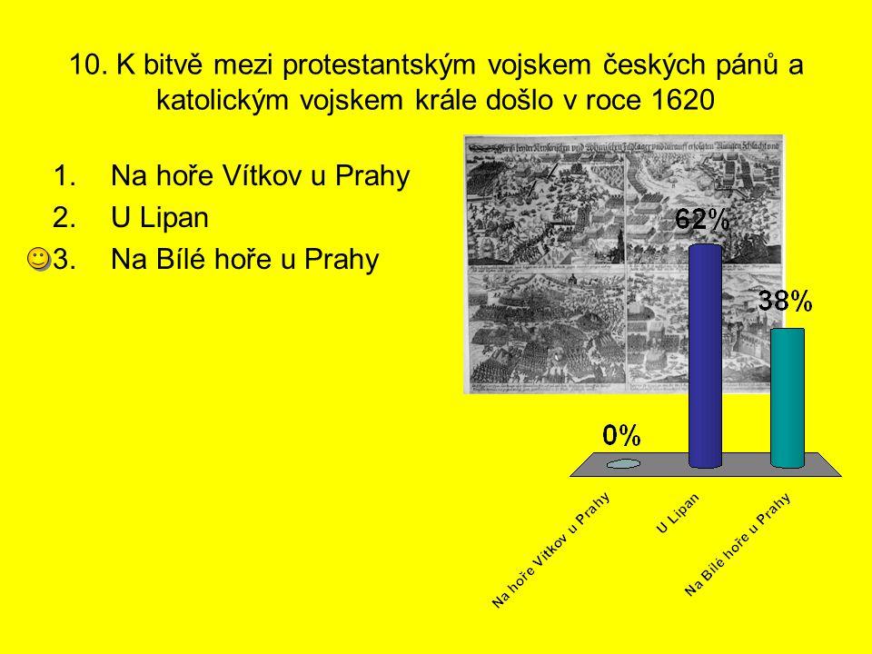 10. K bitvě mezi protestantským vojskem českých pánů a katolickým vojskem krále došlo v roce 1620