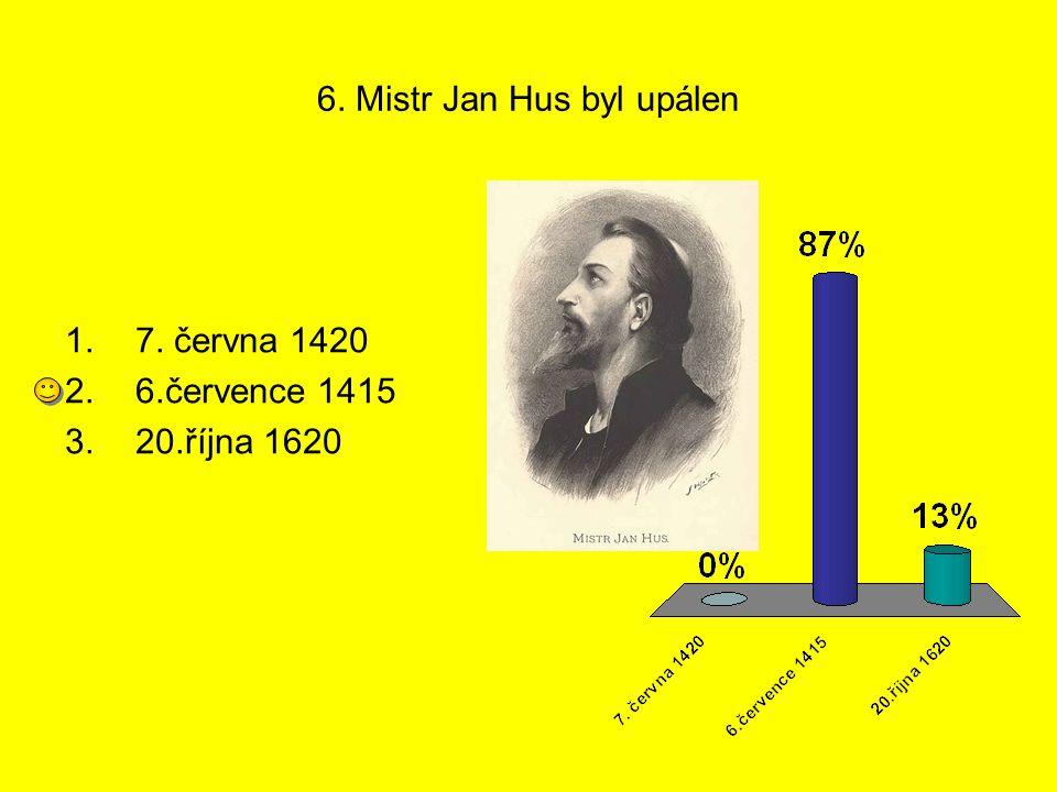 6. Mistr Jan Hus byl upálen