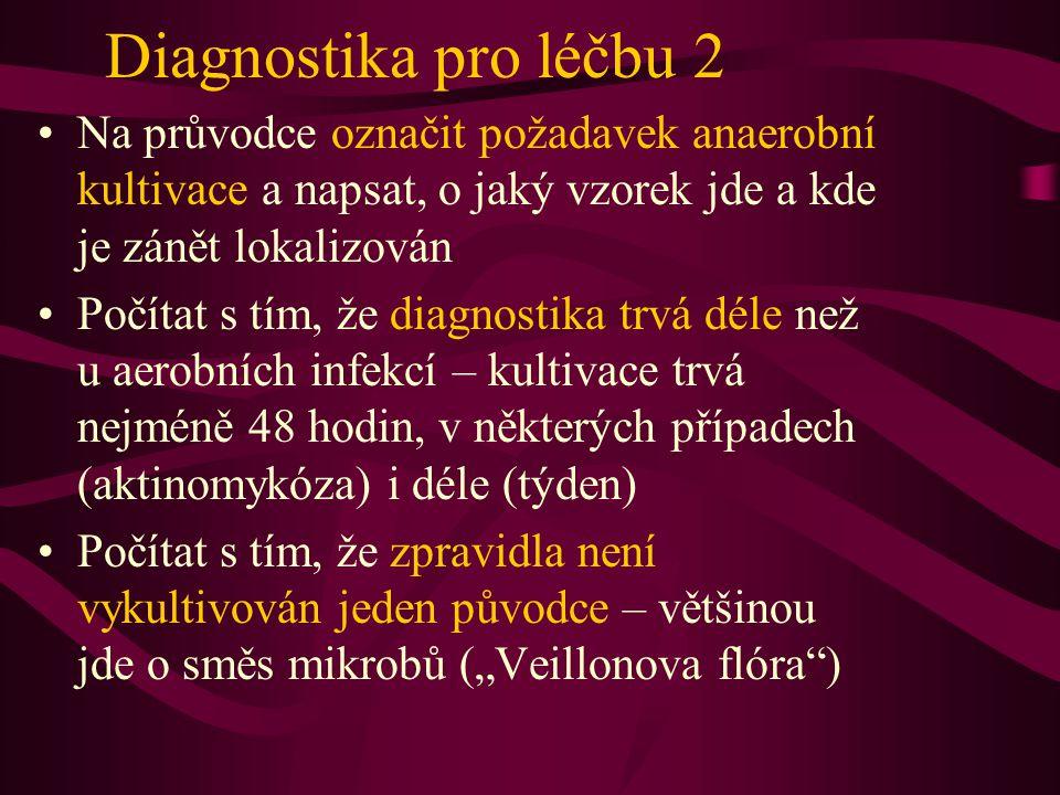 Diagnostika pro léčbu 2 Na průvodce označit požadavek anaerobní kultivace a napsat, o jaký vzorek jde a kde je zánět lokalizován.