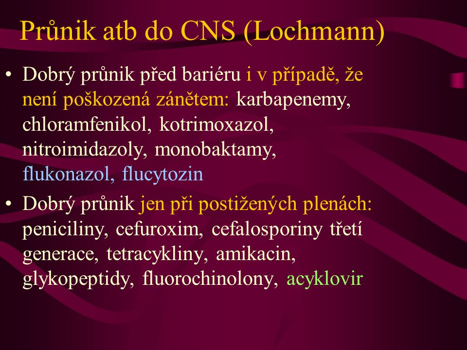 Průnik atb do CNS (Lochmann)