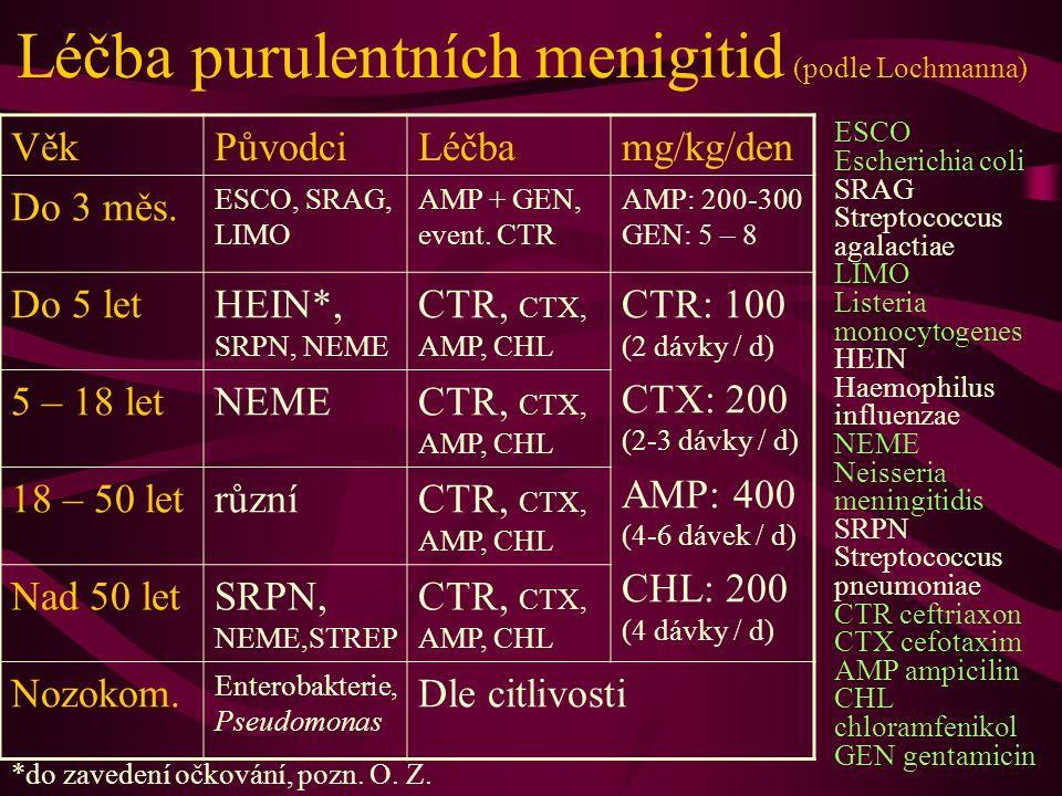 Léčba purulentních menigitid (podle Lochmanna)