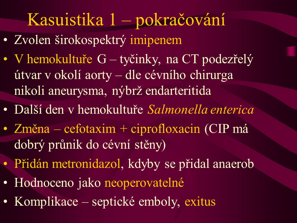 Kasuistika 1 – pokračování