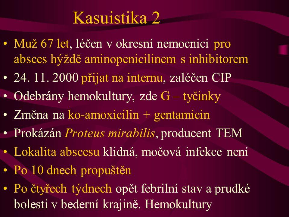 Kasuistika 2 Muž 67 let, léčen v okresní nemocnici pro absces hýždě aminopenicilinem s inhibitorem.