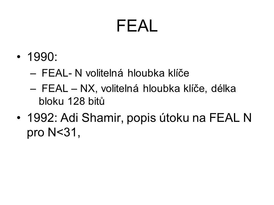 FEAL 1990: 1992: Adi Shamir, popis útoku na FEAL N pro N<31,