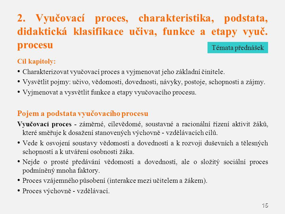2. Vyučovací proces, charakteristika, podstata, didaktická klasifikace učiva, funkce a etapy vyuč. procesu