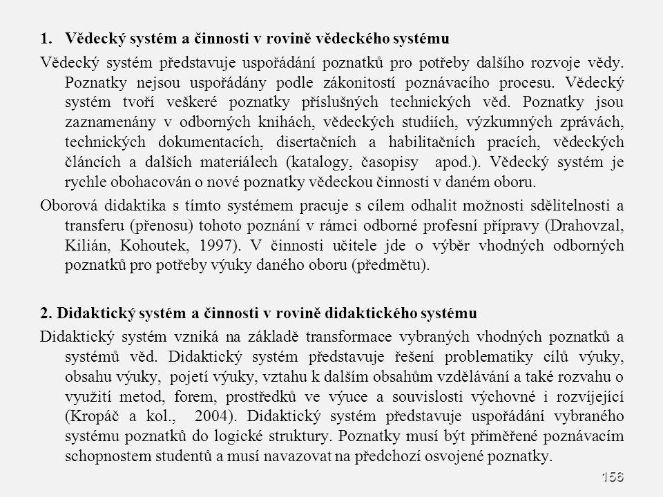 Vědecký systém a činnosti v rovině vědeckého systému