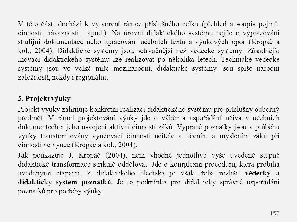 V této části dochází k vytvoření rámce příslušného celku (přehled a soupis pojmů, činností, návaznosti, apod.).
