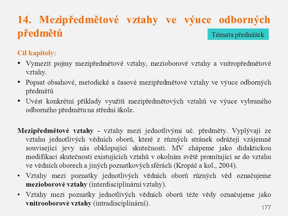14. Mezipředmětové vztahy ve výuce odborných předmětů