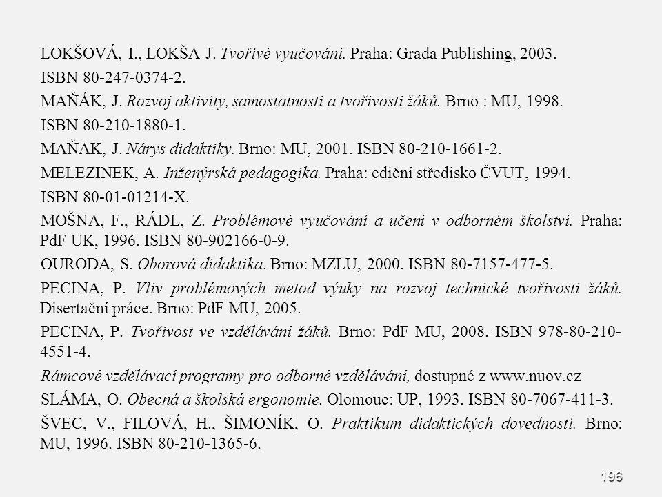 LOKŠOVÁ, I., LOKŠA J. Tvořivé vyučování. Praha: Grada Publishing, 2003.