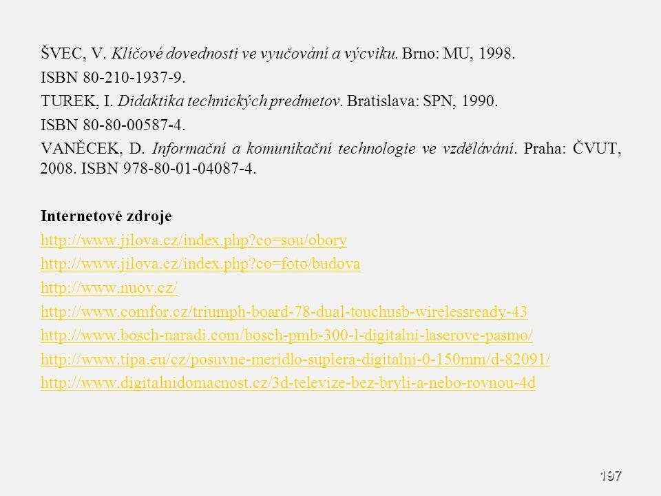 ŠVEC, V. Klíčové dovednosti ve vyučování a výcviku. Brno: MU, 1998