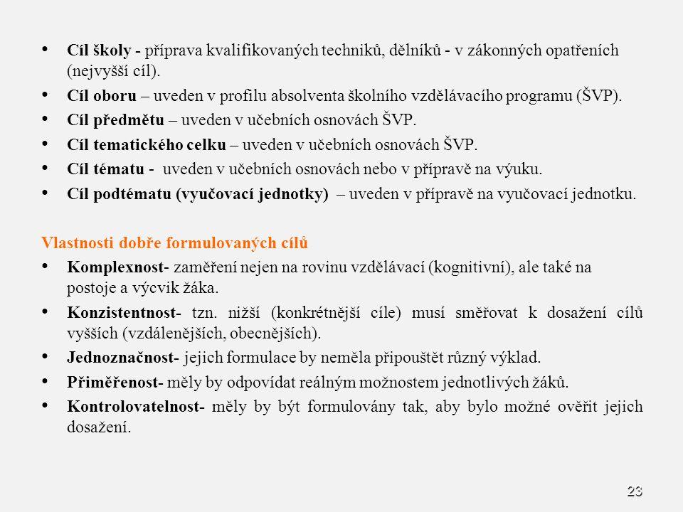 Cíl školy - příprava kvalifikovaných techniků, dělníků - v zákonných opatřeních (nejvyšší cíl).