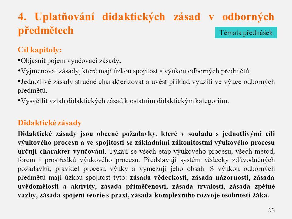 4. Uplatňování didaktických zásad v odborných předmětech