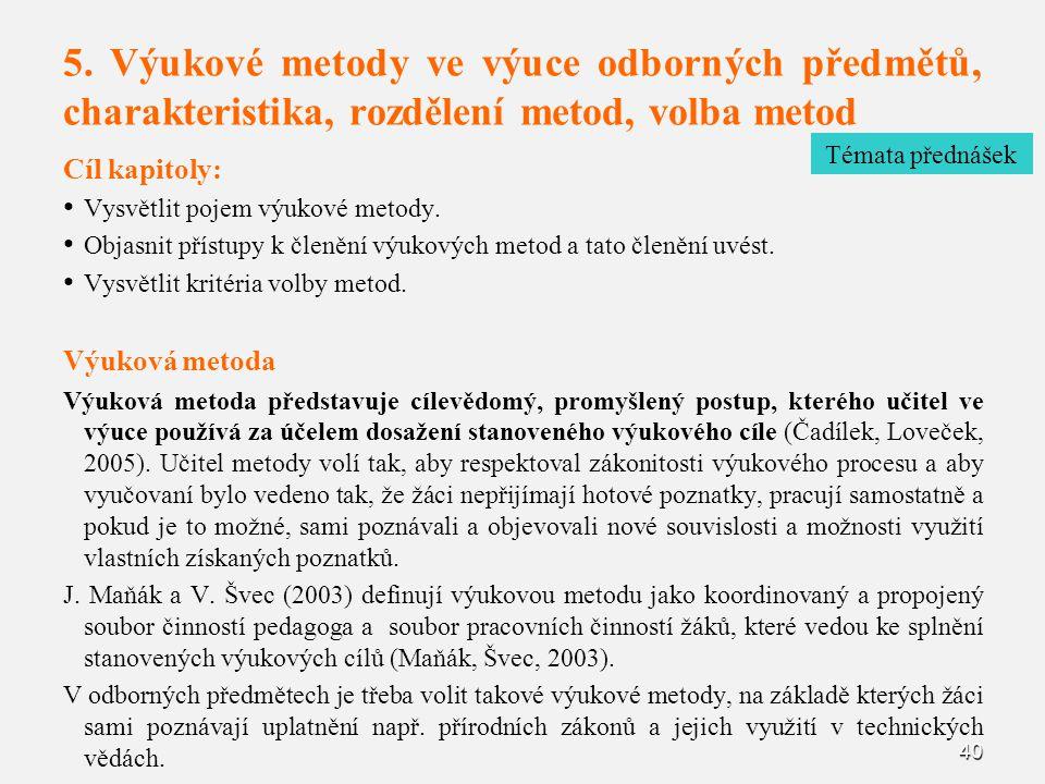 5. Výukové metody ve výuce odborných předmětů, charakteristika, rozdělení metod, volba metod