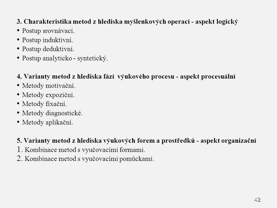 3. Charakteristika metod z hlediska myšlenkových operací - aspekt logický