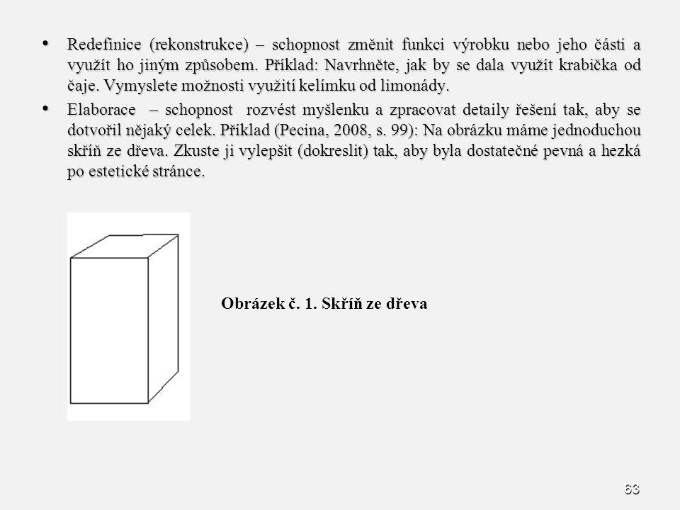Redefinice (rekonstrukce) – schopnost změnit funkci výrobku nebo jeho části a využít ho jiným způsobem. Příklad: Navrhněte, jak by se dala využít krabička od čaje. Vymyslete možnosti využití kelímku od limonády.