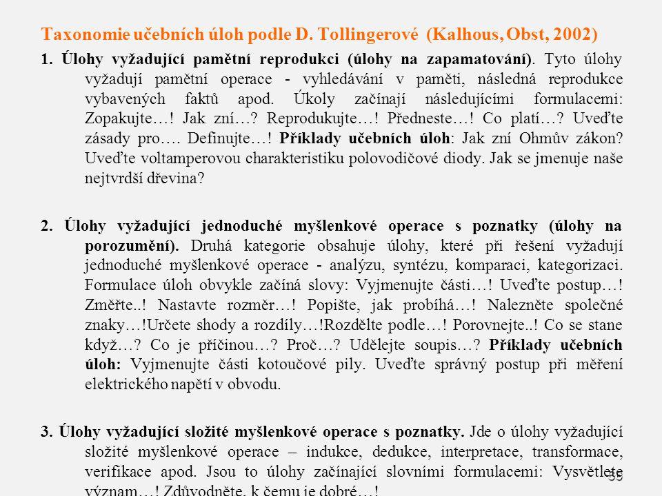 Taxonomie učebních úloh podle D. Tollingerové (Kalhous, Obst, 2002)