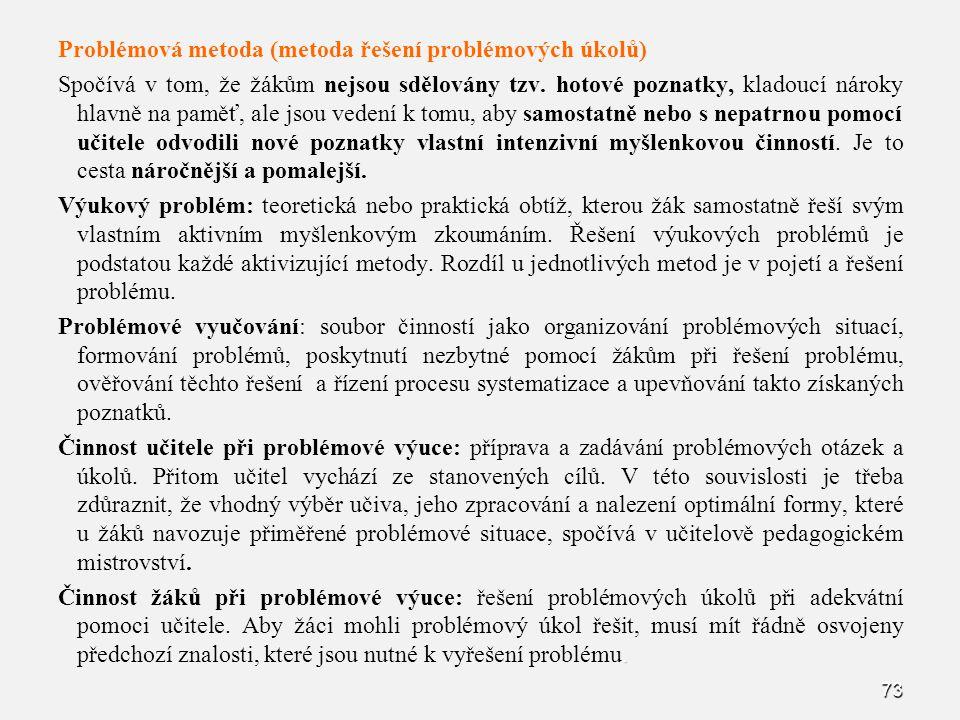 Problémová metoda (metoda řešení problémových úkolů)