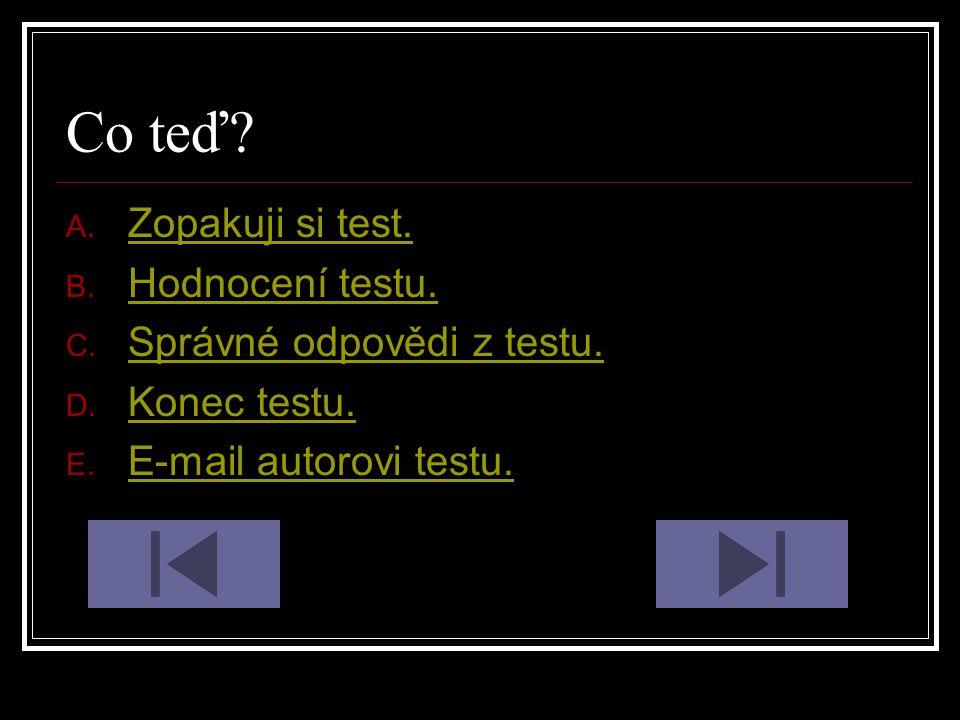Co teď Zopakuji si test. Hodnocení testu. Správné odpovědi z testu.