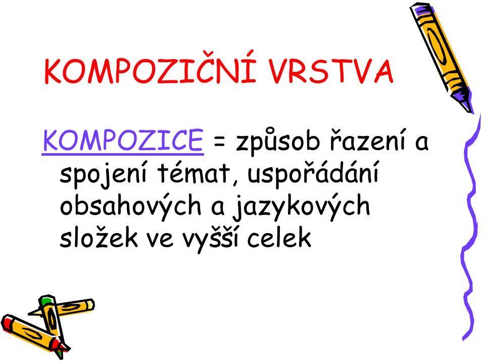 KOMPOZIČNÍ VRSTVA KOMPOZICE = způsob řazení a spojení témat, uspořádání obsahových a jazykových složek ve vyšší celek.