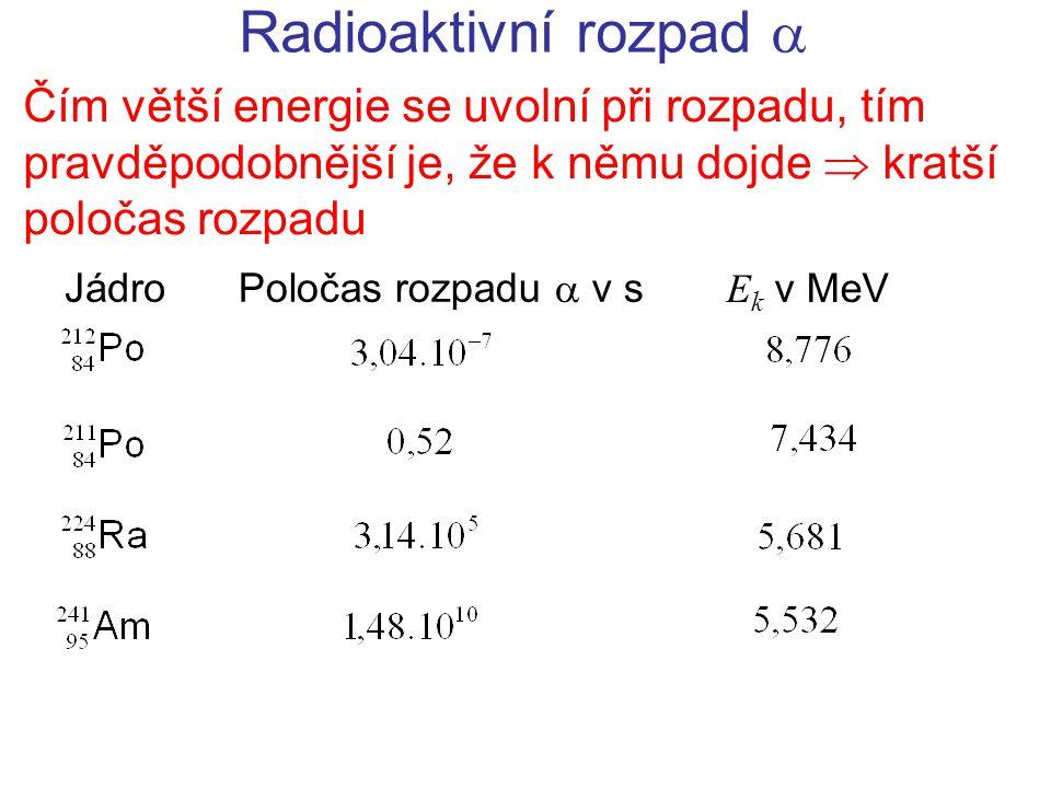 Radioaktivní rozpad  Čím větší energie se uvolní při rozpadu, tím pravděpodobnější je, že k němu dojde  kratší poločas rozpadu.