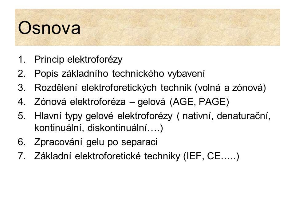 Osnova Princip elektroforézy Popis základního technického vybavení