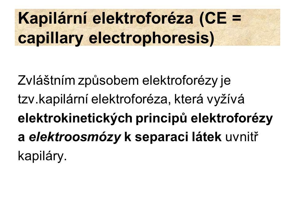 Kapilární elektroforéza (CE = capillary electrophoresis)