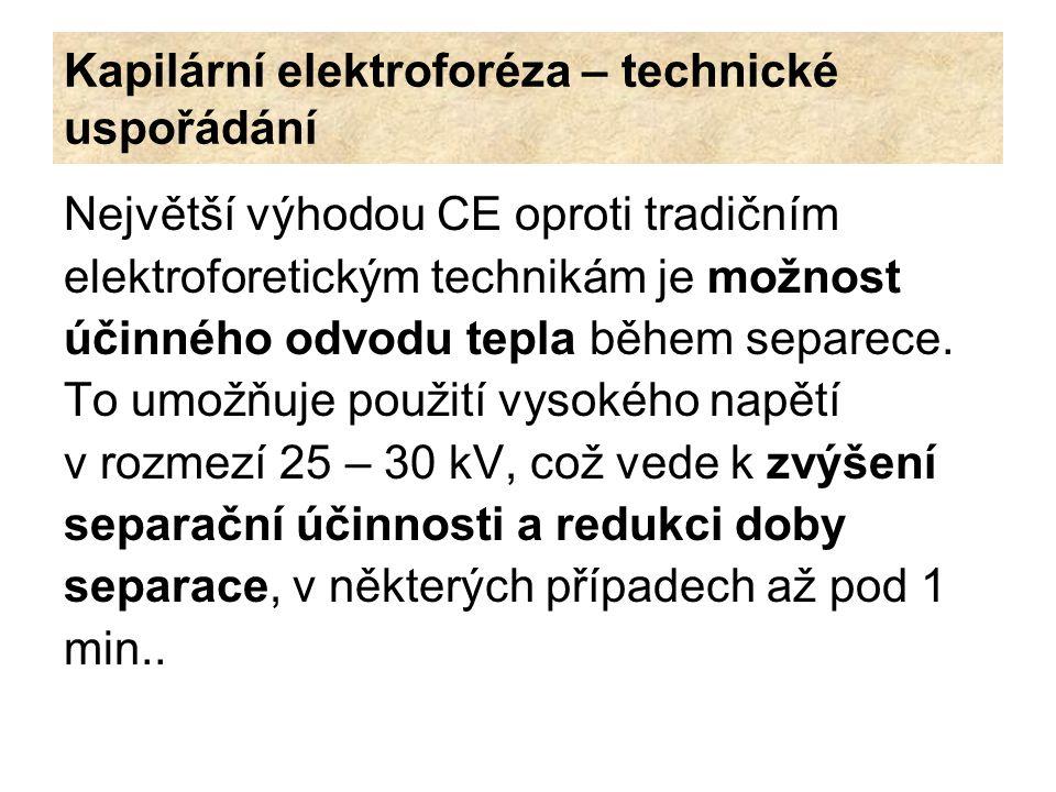 Kapilární elektroforéza – technické uspořádání