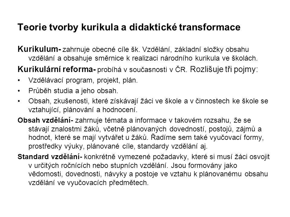 Teorie tvorby kurikula a didaktické transformace