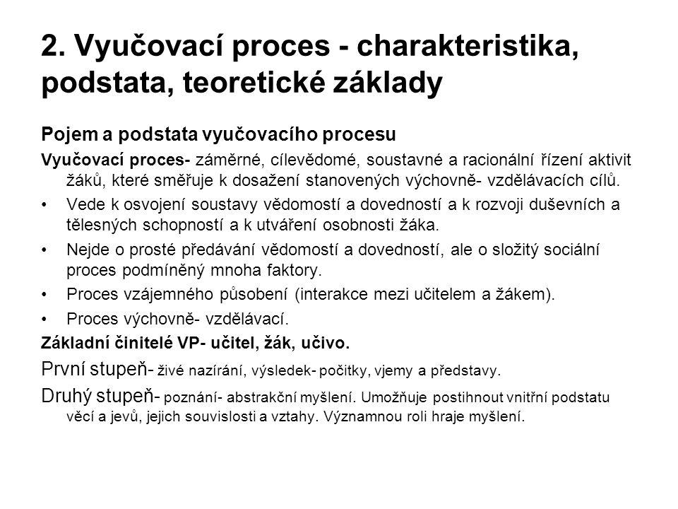 2. Vyučovací proces - charakteristika, podstata, teoretické základy