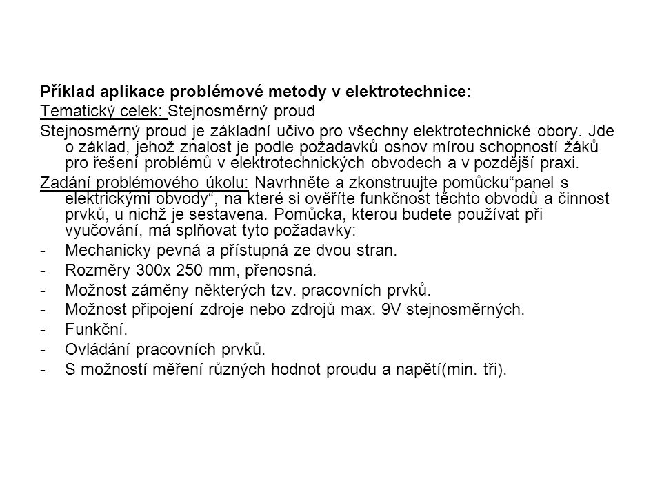 Příklad aplikace problémové metody v elektrotechnice: