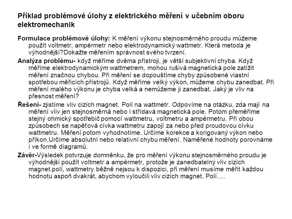 Příklad problémové úlohy z elektrického měření v učebním oboru elektromechanik
