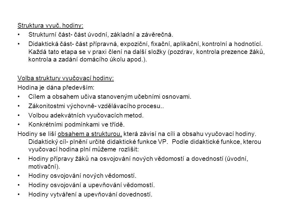 Struktura vyuč. hodiny: