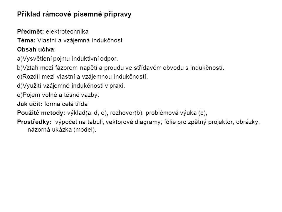 Příklad rámcové písemné přípravy
