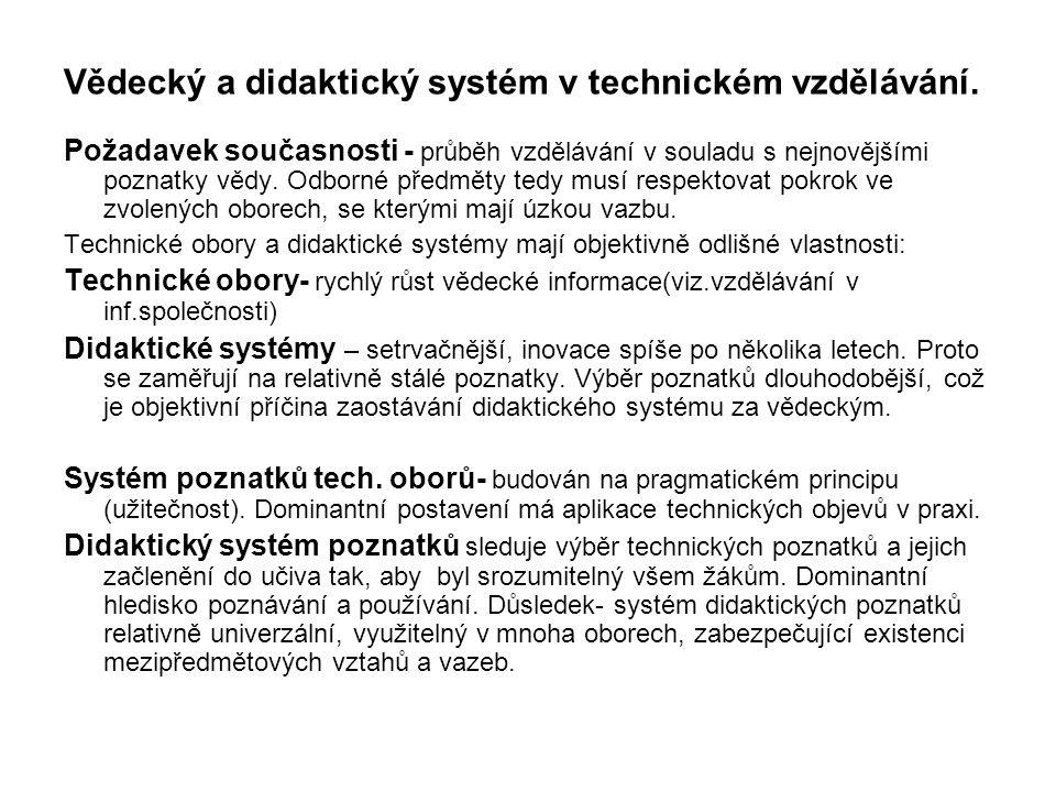 Vědecký a didaktický systém v technickém vzdělávání.