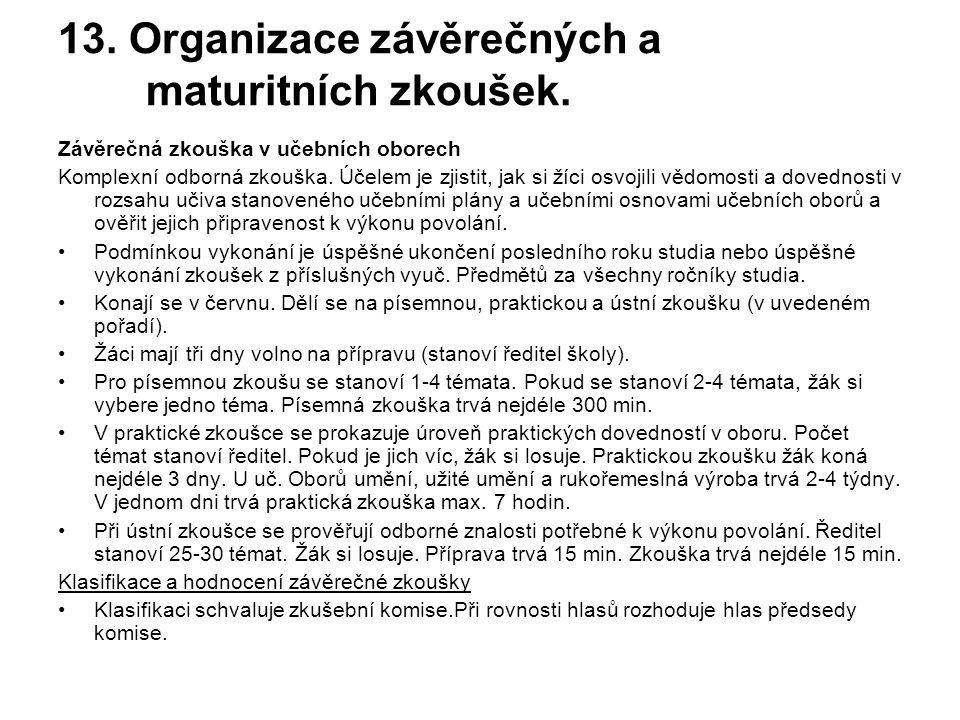 13. Organizace závěrečných a maturitních zkoušek.