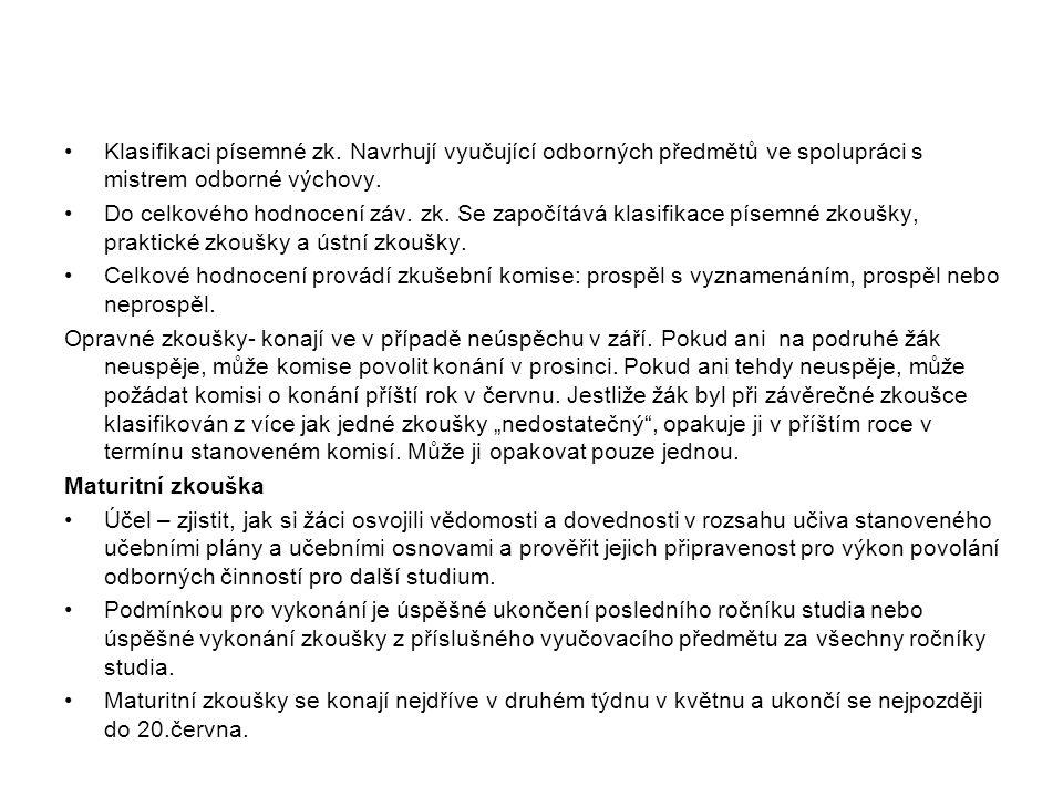 Klasifikaci písemné zk