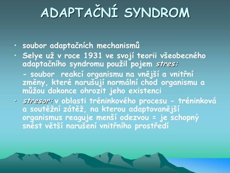 ADAPTAČNÍ SYNDROM soubor adaptačních mechanismů