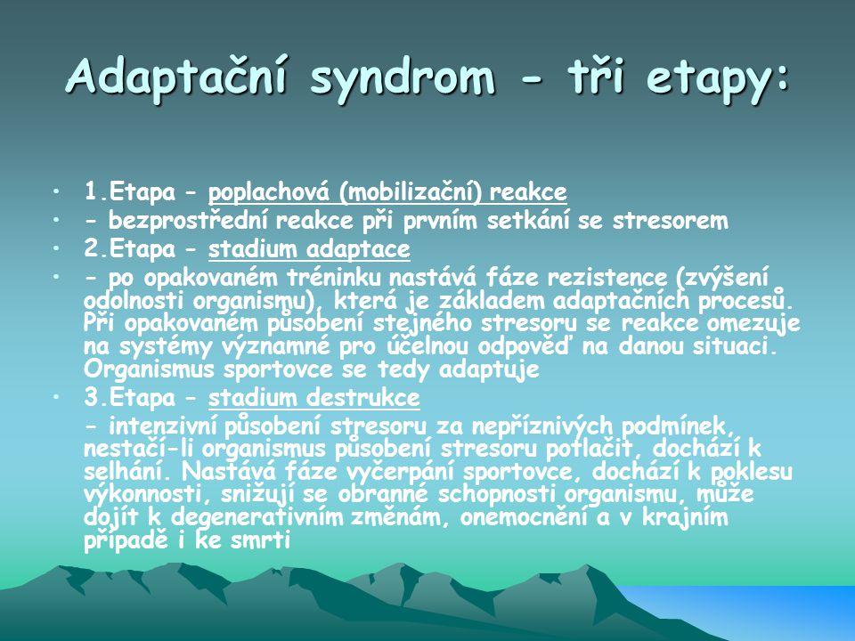 Adaptační syndrom - tři etapy: