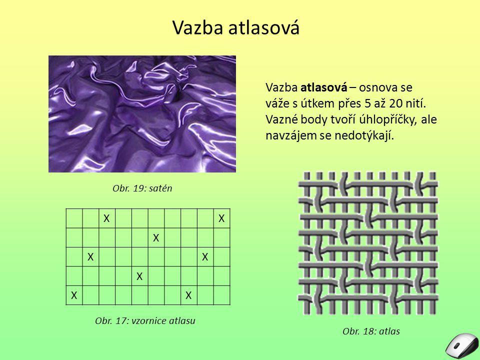 Vazba atlasová Vazba atlasová – osnova se váže s útkem přes 5 až 20 nití. Vazné body tvoří úhlopříčky, ale navzájem se nedotýkají.