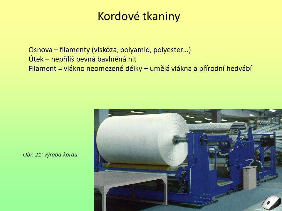 Kordové tkaniny Osnova – filamenty (viskóza, polyamid, polyester…)