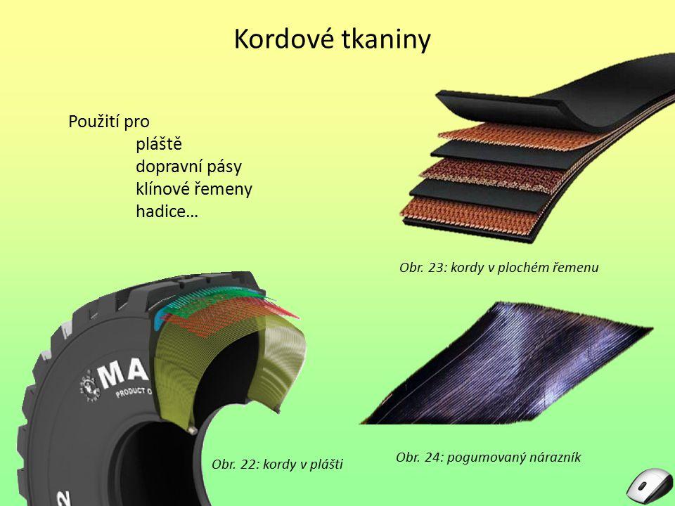 Kordové tkaniny Použití pro pláště dopravní pásy klínové řemeny