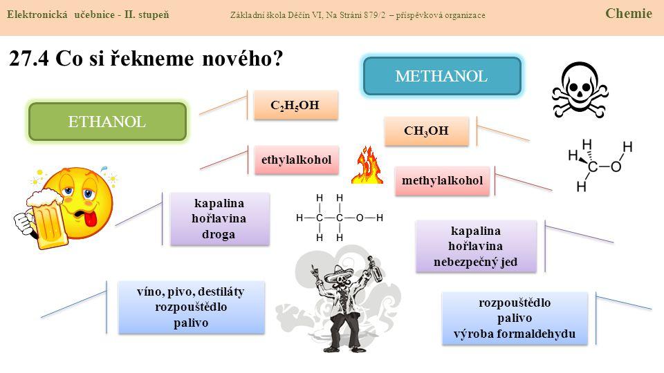 27.4 Co si řekneme nového METHANOL ETHANOL C2H5OH CH3OH ethylalkohol