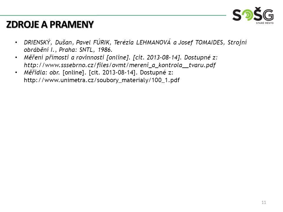 Zdroje a prameny DRIENSKÝ, Dušan, Pavel FÚRIK, Terézia LEHMANOVÁ a Josef TOMAIDES, Strojní obrábění I., Praha: SNTL, 1986.