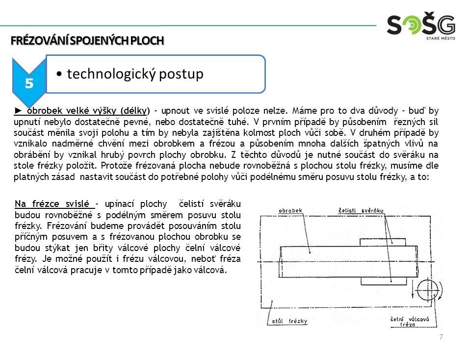 technologický postup FRÉZOVÁNÍ SPOJENÝCH PLOCH 5