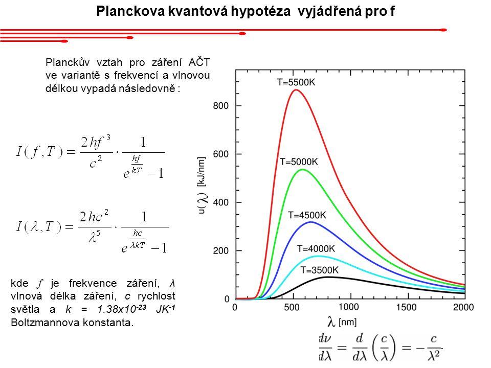 Planckova kvantová hypotéza vyjádřená pro f
