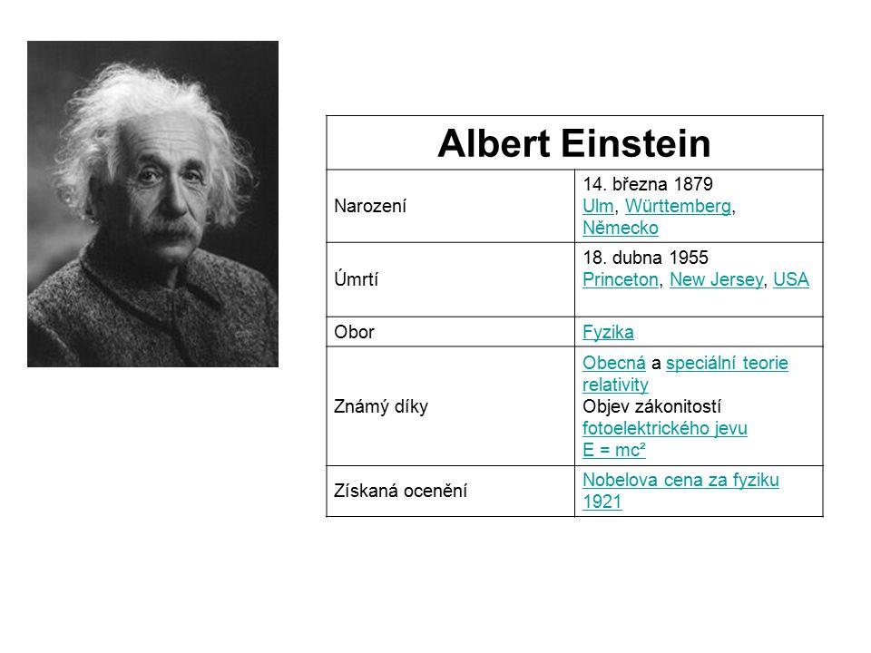 Albert Einstein Narození 14. března 1879 Ulm, Württemberg, Německo