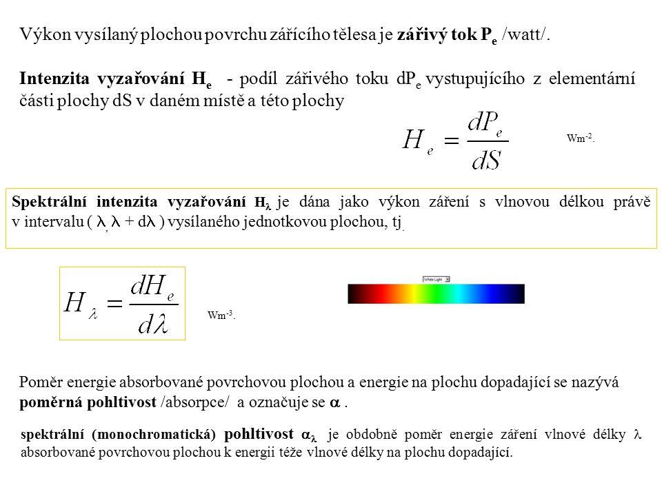 Výkon vysílaný plochou povrchu zářícího tělesa je zářivý tok Pe /watt/.