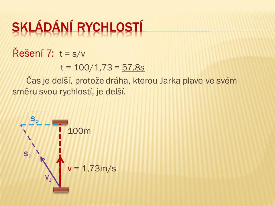 skládání rychlostí Řešení 7: t = s/v t = 100/1,73 = 57,8s